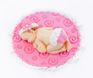 Baby girl fondant sleeping baby topper