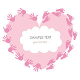Baby girl foot and handprint greeting card Stock Photography