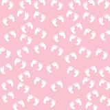 Baby Girl Footprints Seamless Pattern