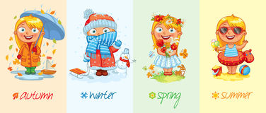 Baby girl and the four seasons Royalty Free Stock Image
