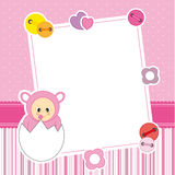 Baby girl. Frame. Baby girl arrival announcement card. Frame Royalty Free Stock Images