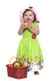 Baby girl with fruits Royalty Free Stock Images