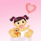 Baby girl. Funny illustration of baby girl Stock Photo
