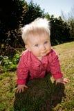 Baby girl garden flowers royalty free stock photo