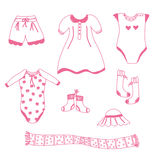 Baby girl garments set Royalty Free Stock Photo