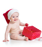 Baby girl with gift box Royalty Free Stock Images
