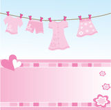Baby girl gift card. Background Royalty Free Stock Images