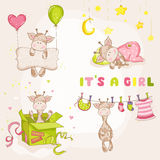 Baby Girl Giraffe Set - Baby Shower Card Stock Photos
