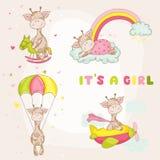 Baby Girl Giraffe Set - Baby Shower Card Royalty Free Stock Images