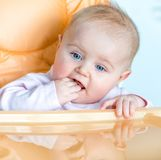 Baby girl is going to eat Royalty Free Stock Images