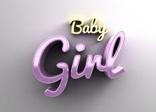 Baby girl - gold and pink 3D quality render on the background wi. Th soft shadow Stock Images