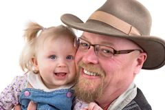 Baby Girl and Grandfather Stock Photos