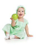 Baby girl with green apple. Child with green apple studio shot Royalty Free Stock Photos