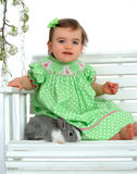 Baby Girl in Green and Bunny Stock Photography