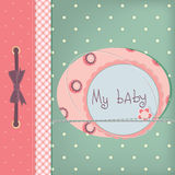 Baby girl greeting card. Frame and place for your text or picture Royalty Free Stock Images