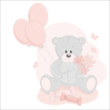 Baby girl greeting card. With teddy bear and balloons Royalty Free Stock Photo