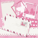 Baby girl greeting card. With photo frame and envelope Royalty Free Stock Photos