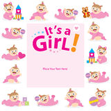 Baby Girl Greeting card design Stock Photos
