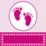 Baby girl greeting card with foot steps Royalty Free Stock Photography