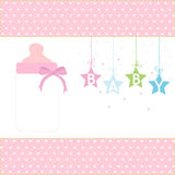 Baby girl greeting card hanging stars and bottle vector Stock Photos