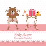 Baby girl greeting card. Baby shower. Vector Royalty Free Stock Photography
