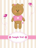 Baby girl greeting card with teddy bear Stock Photography