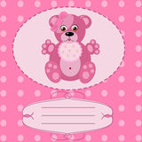 Baby girl greeting card, vector background Royalty Free Stock Images