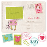 Baby Girl Greeting Postcard Royalty Free Stock Image