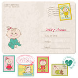 Baby Girl Greeting Postcard Stock Images
