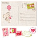 Baby Girl Greeting Postcard with set of stamps Stock Photo