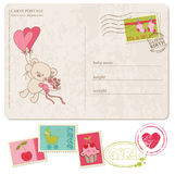 Baby Girl Greeting Postcard with set of stamps Royalty Free Stock Photos