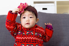 Baby girl with hair accessory