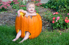 Baby girl in Halloween pumpkin Stock Photo
