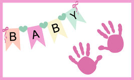 Baby girl hand prints greeting card vector Royalty Free Stock Photos