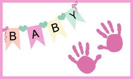 Baby girl hand prints greeting card vector Royalty Free Stock Photos