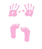 Baby girl handprint - footprint Royalty Free Stock Photos