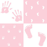 Baby girl, handprint and footprint, Stock Photo
