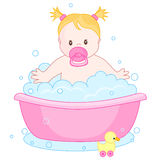 Baby girl having a bath. An illustration of a cute little baby girl having  bath. child bubble bath Stock Images