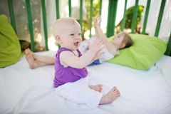 Baby girl having fun Royalty Free Stock Photography