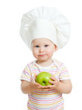 Baby girl with healthy food. Isolated Stock Photo