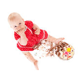 Baby girl and her birthday cake. Royalty Free Stock Photos