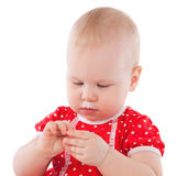 Baby girl and her birthday cake. Royalty Free Stock Images