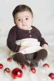 Baby girl in her first Christmas Royalty Free Stock Photography