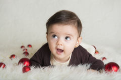 Baby girl in her first Christmas Royalty Free Stock Photos