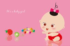Baby girl and her toys Stock Photos