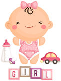 Baby Girl and Her Toys. A vector set of baby girl and her toys Stock Images