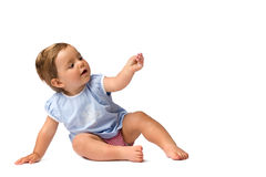 Baby Girl in Hold Something Pose Royalty Free Stock Photos