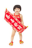 Baby girl holding a congratulations reels for chinese new year Stock Photography