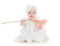 Baby girl holding flower gift Stock Images