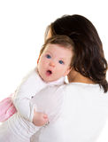 Baby girl hug in mother arms on white. Baby girl hug in mother arms funny gesture on white background royalty free stock image